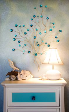 Beautiful lamp, great accessories and faux finished walls are a wonderful combination in this under the sea girl's room. Portfolio | Living Lullaby Designs