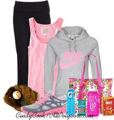 """Nike Workout"" by cindycook10 ❤ liked on Polyvore softball outfits, baseball mom, athlete fashion, nike workout, softball mom outfit, men shoes, workout outfits, athletic outfits, nike shoes"