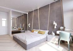 Camera da letto con bagno padronale a vista con vasca, pavimento in ...