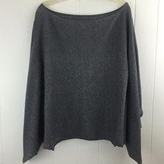 Pretty #Nordstrom Women M L Gray Kimono Kaftan Top #Poncho Silver Shimmer Stretchy Blouse
