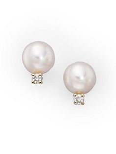 Zales 9.0mm Cultured Freshwater Pearl and Baguette Lab-Created White Sapphire Stud Earrings in 10K Gold 4ooXo3v