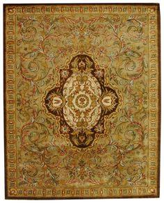 Safavieh Handmade Classic Royal Beige/ Olive Wool Rug (8'3 x 11'), Size 8'3 x 11' (Cotton, Border)