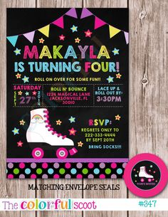 Printable chalkboard girl roller skating ticket birthday invitation roller staking birthday invitation by thecolorfulscoot on etsy stopboris Gallery