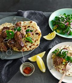 Australian Gourmet Traveller fast recipe for spiced lamb and pine nut köfte with yoghurt flatbread.