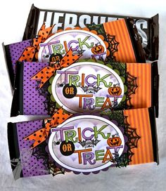 TE Birthday Bash - Sept Sneak Peeks Day by SLWhite - Cards and Paper Crafts at Splitcoaststampers Dulceros Halloween, Halloween Candy Bar, Halloween Favors, Halloween Treat Bags, Halloween Projects, Halloween Cards, Holidays Halloween, Halloween Decorations, Halloween