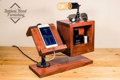 Special Edition USB Wood Bedside Utility Storage Box Lamp With Pipe Stand Electronic Docking Station Apple watch dock charger