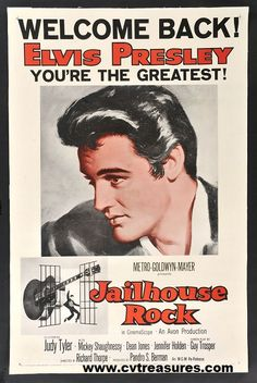 "Elvis Presley Movie Posters in ""Jailhouse Rock"". The RARE ""Welcome Back"" One Sheet original vintage film poster.   Elvis Presley vintage memorabilia. See it at www.cvtreasures.com , Conway's Vintage Treasures"