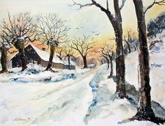 Winterabend..zur Weihnachtszeit.auf dem Lande.. ..Aquarell..56x76cm