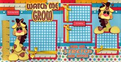 2 12x12 premade scrapbook pages. - WATCH ME GROW -. Adorable 3D art has been printed, hand cut, and made 3d with foam squares. These completed two pages are as the pictures shows … no customization is possible. | eBay!
