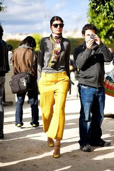 yellow cropped pants, cashmere, vintage scarf