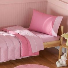 Found it at Wayfair - Toddler Bedding 4 Piece Toddler Bed Set Light Pink / Dark Pink - Why not buy a toddler bedding? She will only need a sheet in her bed at first anyway. Nursery Bedding Sets, Pink Bedding, Comforter Sets, Home Daycare, Big Girl Rooms, Bed Sets, Kids Furniture, Bedroom Furniture, Toddler Bed