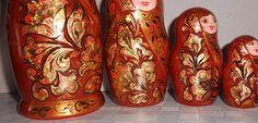 Nesting dolls (matryoshka) in style #khokhloma modern Russian author'shandmade. Russian dolls nesting #matryoshka handmade. Painted in the style of Russian folk khokhloma mod... #handmade #babushka