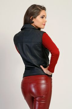 Red leather pants and black leather vest