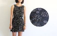 Foundet – Black floral tank mini dress / 90's grunge dress sleeveless daisy dress / size Medium or Small