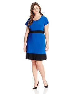 Star Vixen Womens PlusSize Colorblock Short Sleeve Skater Dress Royal Black 2X -- Find out more about the great product at the image link.  This link participates in Amazon Service LLC Associates Program, a program designed to let participant earn advertising fees by advertising and linking to Amazon.com.