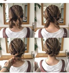 loose braided updo diy wedding hairstyles ideas Do you wanna g. - loose braided updo diy wedding hairstyles ideas Do you wanna get inspiration from - Short Hair Styles Easy, Medium Hair Styles, Curly Hair Styles, Short Hair Updo Easy, Updos With Short Hair, Braiding Short Hair, Short Hair Wedding Styles, Simple Updo, Hair Simple