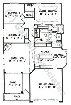 01138 Clearwater House Plan, 1st Floor Plan, Small House Plans, Ranch Style House Plans