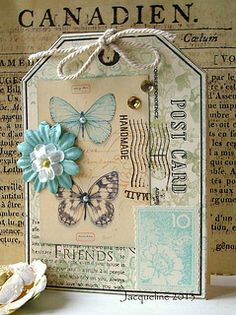 "Collage by Jacqueline.fr, via Flickr.  Love the ""tag"" look of this card.  Also love how they used their post card stamp along with the butterflies  flowers.  Very pretty!"