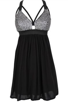 Shining Armor Sequin Designer Cutout Party Dress in Black/Silver  www.lilyboutique.com