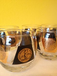 Libbey Black and Gold Coin Rocks Glasses (Set of 6).