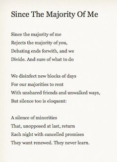 "Philip Larkin, ""Since the Majority of Me"""