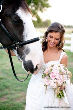 Ranch Style Bridal Portrait of Bride with Horse - Bouquet of Pink and Green with Dainty Spray Roses - The French Bouquet - Josh McCullock Photography Horse Girl Photography, Wedding Photography Poses, Photography Ideas, Bridal Session, Bridal Shoot, Cute Wedding Ideas, Wedding Pictures, Wedding Beauty, Dream Wedding