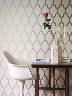 Farrow & Ball Tessella Wallpaper (Gilver Metallic No. Metallic Wallpaper, Paper Wallpaper, Geometric Wallpaper, Home Wallpaper, Metallic Prints, Metallic Look, Wallpaper Designs, Wallpaper Ideas, Farrow Ball