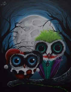 Owly versions of The Joker and Harley Quinn