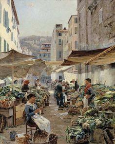Nizzan vihannestori  1885, (Vanha tori) Aukusti Uotila (1858-1886), oil on canvas - Taiteilijana Uotila edusti realistista tyylisuuntaa.Hänen elämäänsä varjostivat köyhyys ja huono terveys.Uotilan parhaina töinä pidetään hänen Pariisin ajan tuotantoaan.