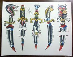 Daggers Traditional Tattoo Flash Sheet Derekbward Etsy