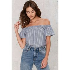 Line Forever Pinstripe Top (56 AUD) ❤ liked on Polyvore featuring tops, blue, off shoulder tops, relaxed fit tops, blue off the shoulder top, print top and off the shoulder tops
