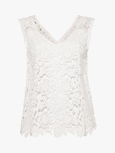 Phase Eight Aleah Lace Blouse, White at John Lewis & Partners White Lace Blouse, Embroidered Lace Fabric, Phase Eight, Neck Pattern, Wide Leg Trousers, Lace Sleeves, Warm Weather, Personal Style, John Lewis