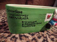Christmas Ceramic Reindeer Napkin Holder Letter Mailbox Plant Decor Kris Kringle #Unbranded