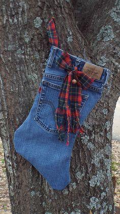 Denim Christmas Stocking by SouthernGrandma on Etsy, $5.50