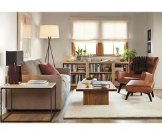Woodwind 30h Bookcases - Jasper Sofa with Chaise Living Room - Living - Room & Board