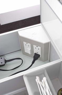 In-the-drawer electrical outlets for bathroom drawers & vanities