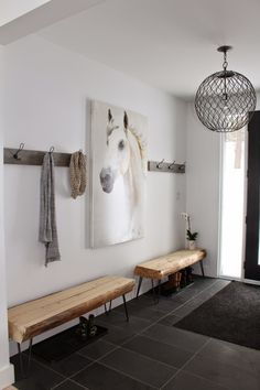 hairpin leg benches, hooks = perfection. Love the idea of a picture but definitely not the horse.