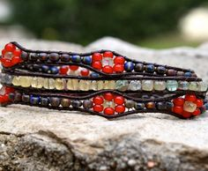 Leather Wrap bracelet 3X multi strand bracelet gemstone  beaded flowers high fashion boho hippie jewelry