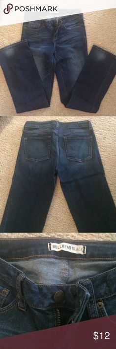 Bullhead Jeans Never worn bullhead jeans. They have a distressed look to them, faded look in some spots. 81% cotton, 18% polyester, 1% spandex. They are pretty stretchy. Bullhead Jeans Boot Cut