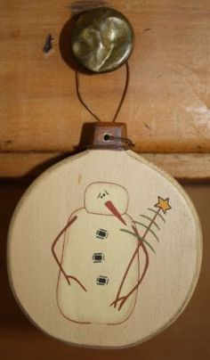 Product Listing - holiday wooden Christmas bulb w/snowman and prim tree painted on it