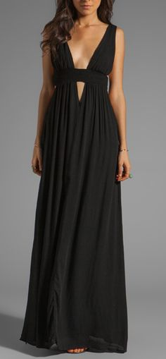 Plunge V-Neck Maxi - wide straps and neckline bring the eye down. Perfect for the inverted shape