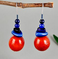 Silver earrings with round red tagua nut, red vegetable ivory nut drop earrings, dangle tagua nut earrings with lapis lazuli and blue jade by NataliaNorenasilver on Etsy
