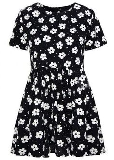 Black Short Sleeve Floral Pleated Chiffon Dress - Sheinside.com Mobile Site So fetch!