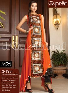 GP-56. Embroidered Silk Screen Printed Chiffon & Charmeuse Silk Bias-Cut Shirt with Embroidered Raw Silk Tights