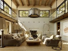 Warm Spacious 2-Story Living Space w/ Spiral Staircase to Clerestory Windows [1068  800]