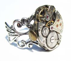 Steampunk ring watch movement  adjustable band  by InsomniaStudios, $55.00