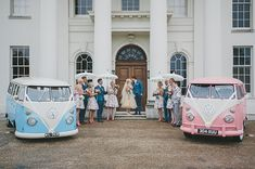 Pale pink and pale blue VW Camper Vans.  http://www.mckinley-rodgers.com/