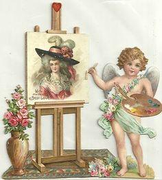 antique vintage Victorian scrap Cherub Artist Marie Antoinette