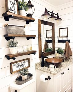 Are you looking for pictures for farmhouse bathroom? Browse around this website for perfect farmhouse bathroom inspiration. This particular farmhouse bathroom ideas will look terrific. Rustic Bathroom Designs, Rustic Bathroom Decor, Farm House Bathroom Decor, Bathroom Shelf Decor, Floating Shelves Bathroom, Bathroom Decor Ideas On A Budget, Rustic House Decor, Rustic Apartment Decor, Mirror Shelves