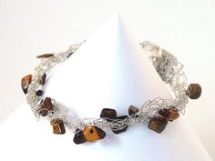 Tiger Eye Cobweb Bracelet  Silver Wire Crochet  UK by Pookledo, £7.00